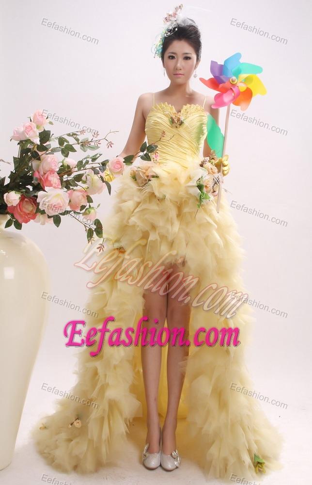 Gold High Low Spaghetti Tulle Little Girls Formal Dresses For Fall
