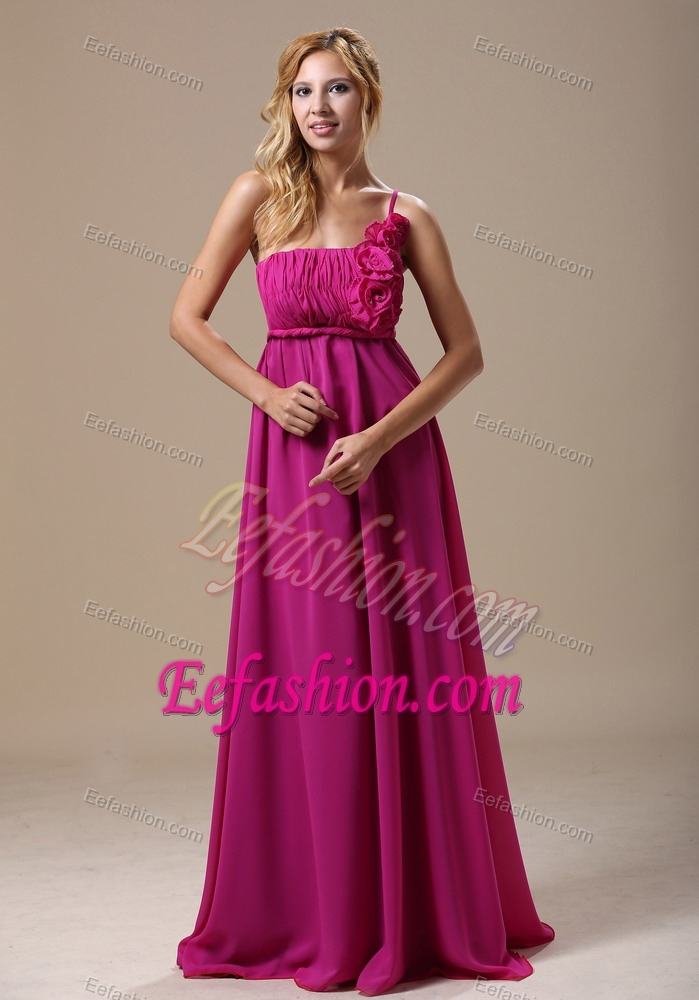 Stylish Fuchsia One Shoulder Empire Maid of Honor Dress with Brush Train