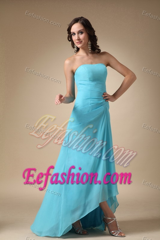 Chiffon Strapless Asymmetrical Dress for Bridesmaid in Aqua Blue for 2014