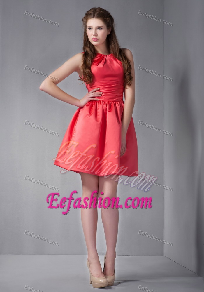 Ruching Mini-length Scoop Bridesmaid Dress with Backless in Coral Red 2013