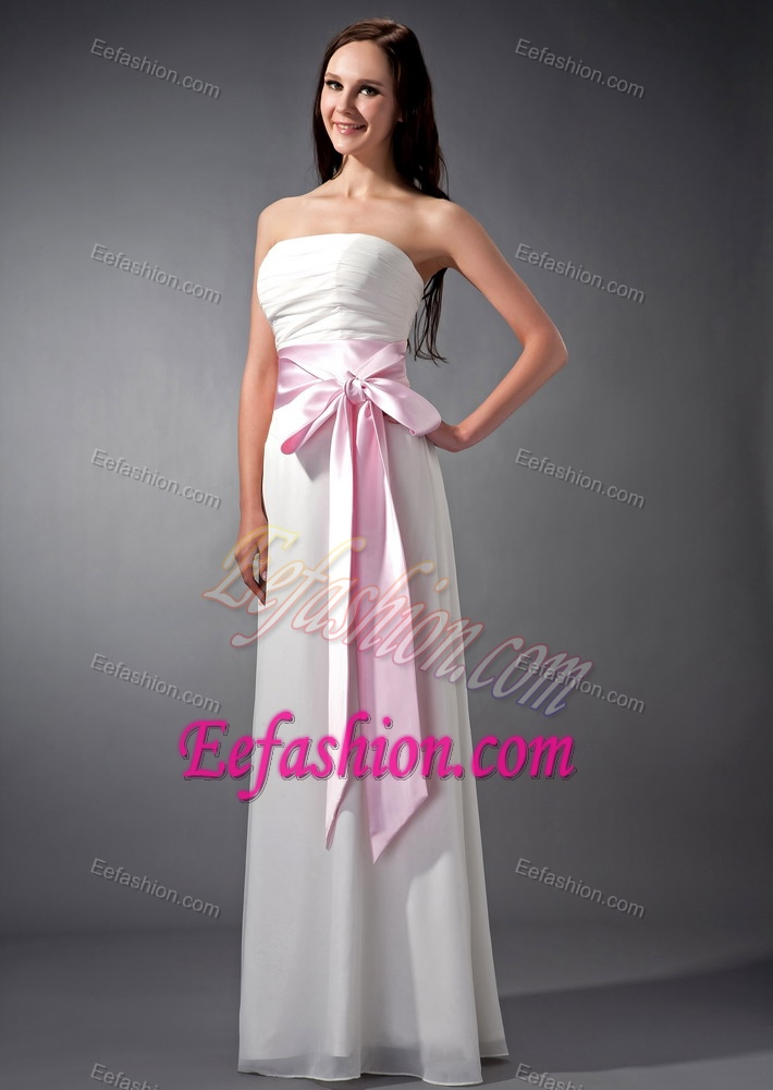 Pretty Strapless White Maternity Bridesmaid Dress with Pink Sash and Bowknot