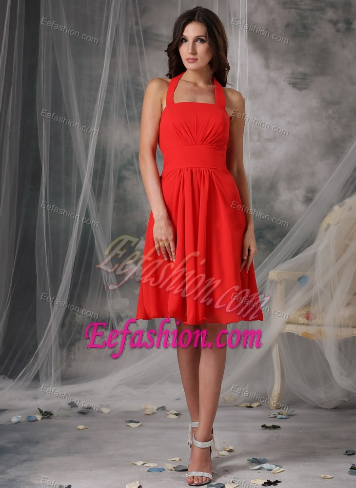 Stylish Halter-top Ruched Chiffon Bridesmaid Dress in Orange with Knee-length