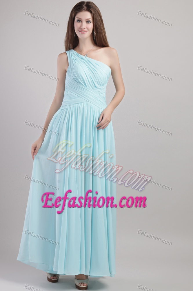 Light Blue One Shoulder Ruched Bridesmaid Dress with Ankle-length