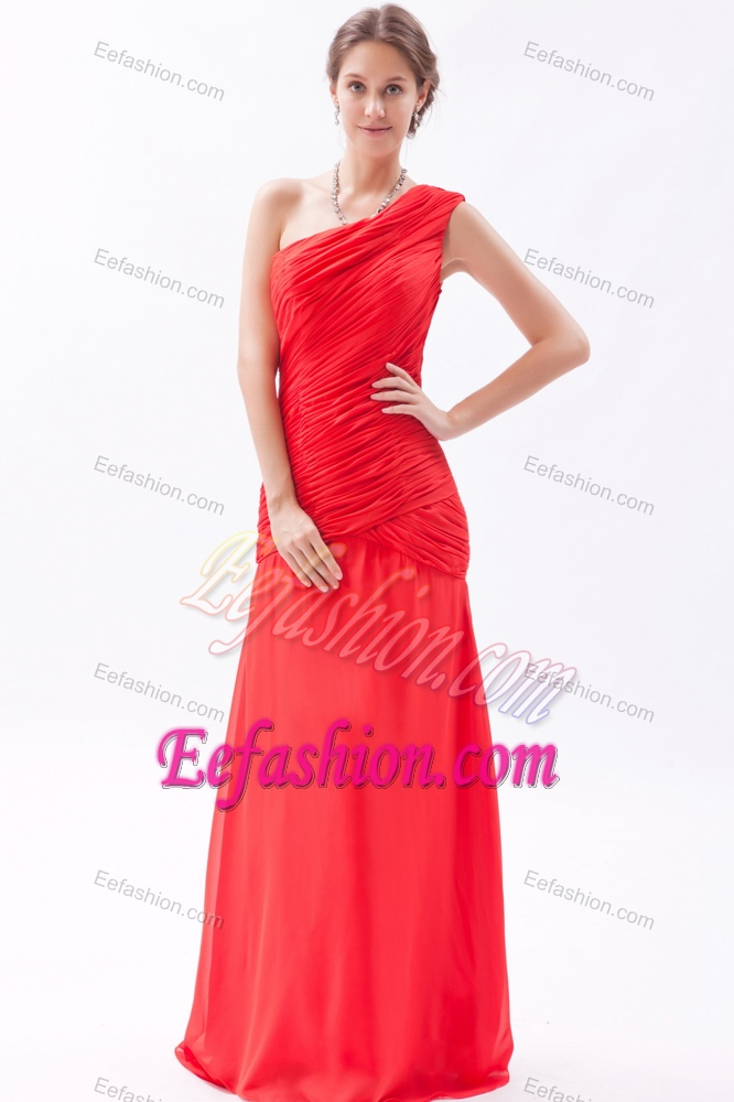 Red One Shoulder Dress for Bridesmaid with Ruches on Promotion