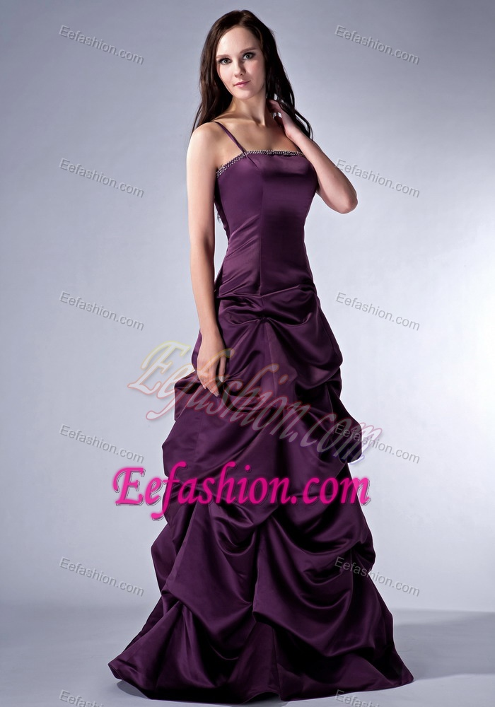 Dark Purple Spaghetti Straps Prom Holiday Dress with Pick-ups in