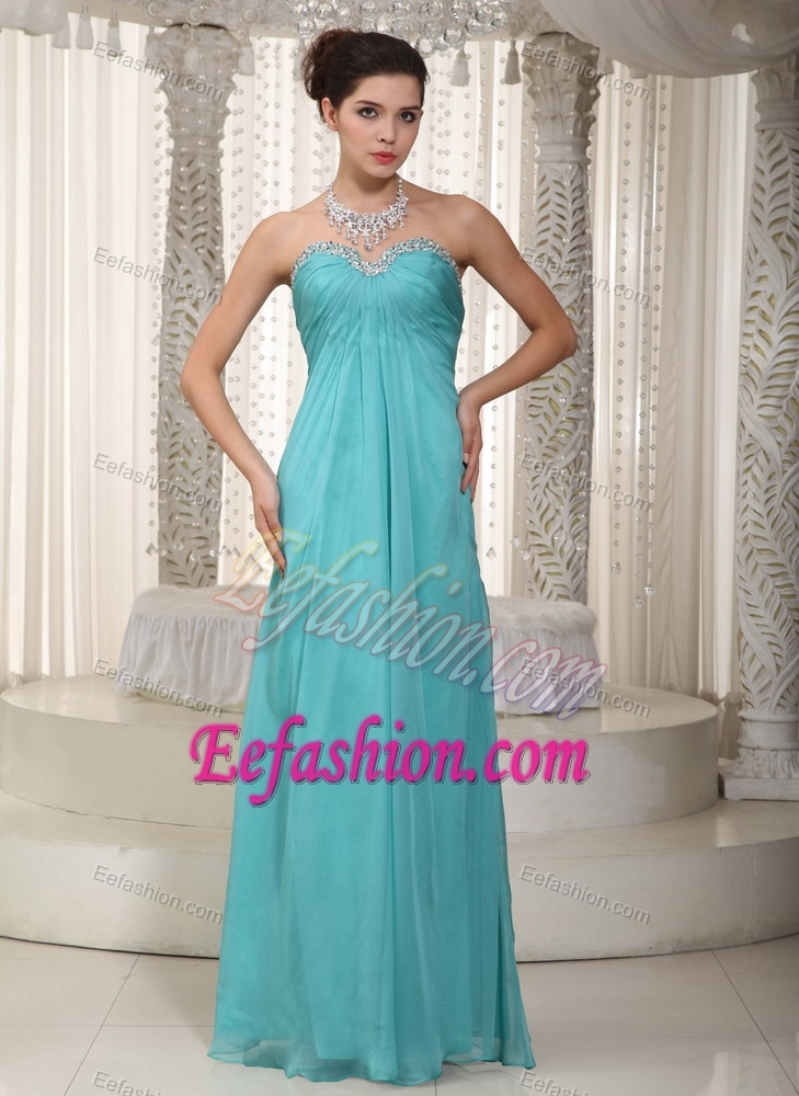 Sweetheart Long Aqua Blue Ruched Chiffon Prom Dresses with Beading