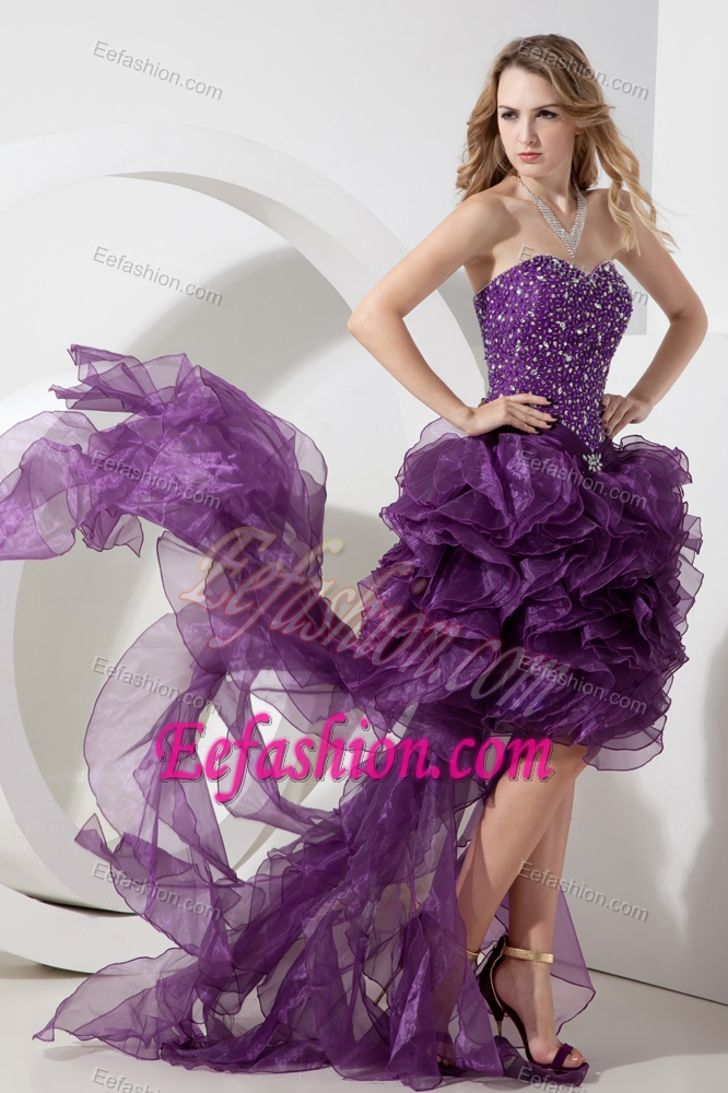 Eggplant Purple Sweetheart High-low Organza Beaded Prom Dress with ...