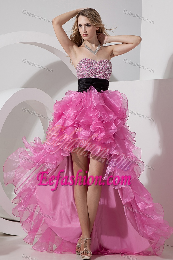 Pink Sweetheart High-low Organza Prom Party Dress with Beading and Ruffles