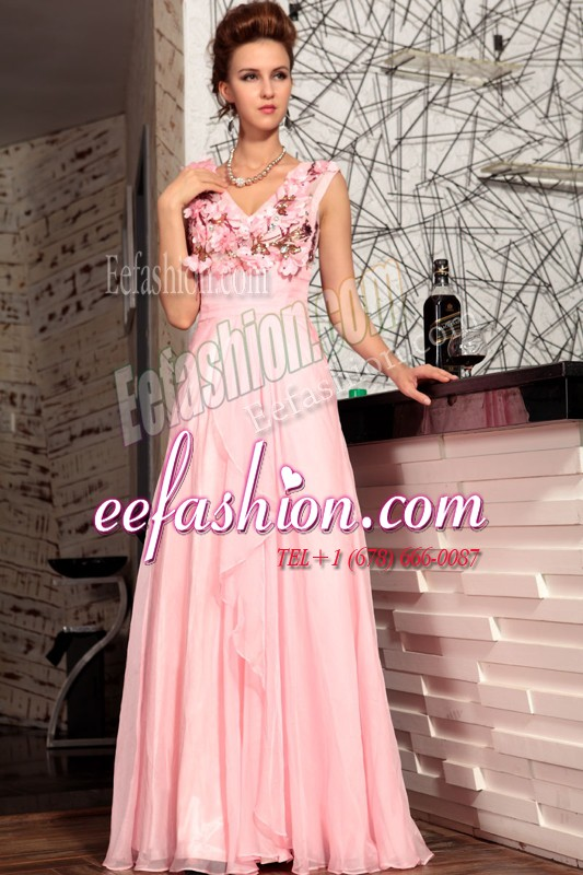 Affordable Baby Pink Sleeveless Floor Length Appliques Zipper Mother Of The Bride Dress
