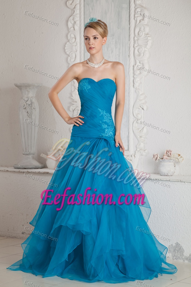 Price Appliqued Teal Mermaid Senior Prom Dresses with Sweetheart