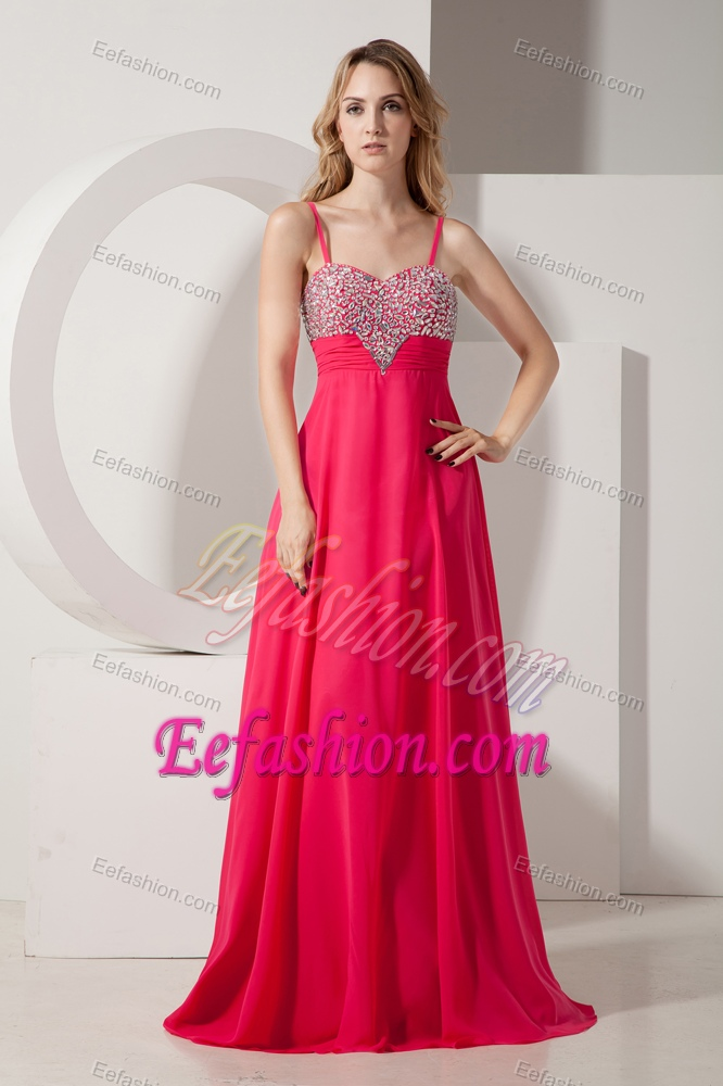 Discount Coral Red Spaghetti Straps Prom Outfits with Beading