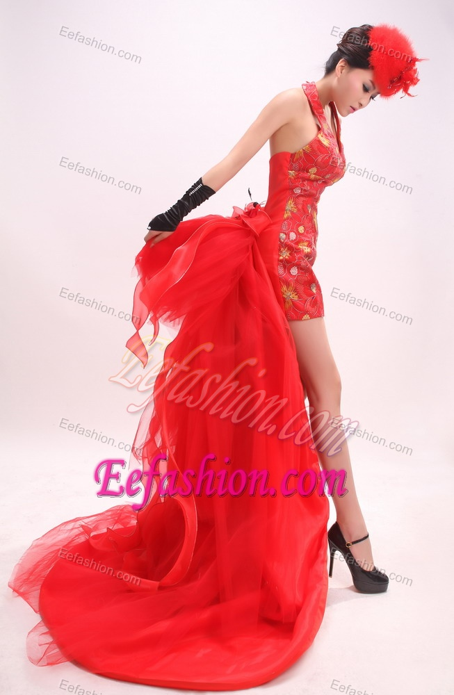 High-low Halter Red Junior Prom Dress with Hand Made Flower