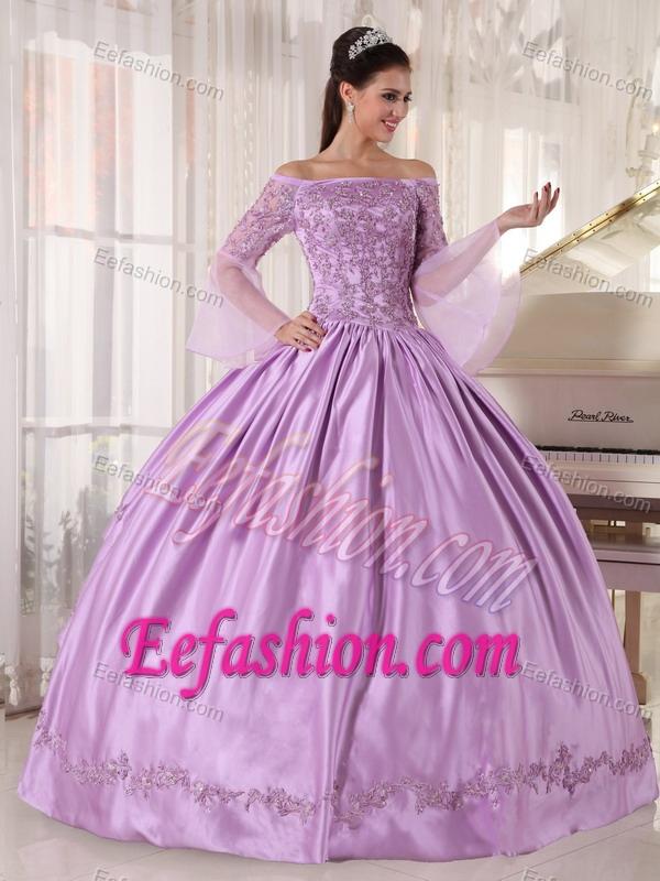Long Sleeves Off Shoulder Appliques Lavender Quinceanera