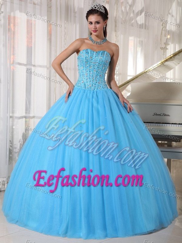 Simple Sweetheart Beading Sky Blue Tulle and Quinceanera Dresses