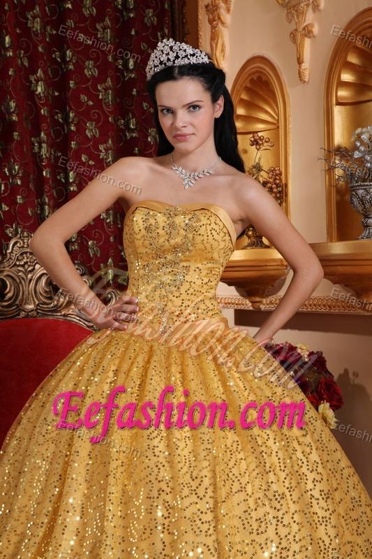 Sequin Sweetheart Beading Golden Quinceanera Dresses With