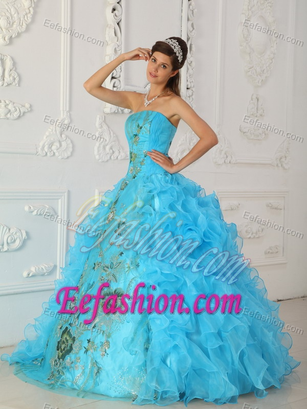 Gorgeous Strapless Embroidery Aqua Blue Dress for Quinceaneras to Long