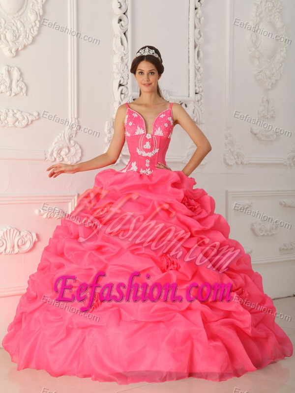 Nice Dresses for a Quince to Long and Organza in Watermelon Red