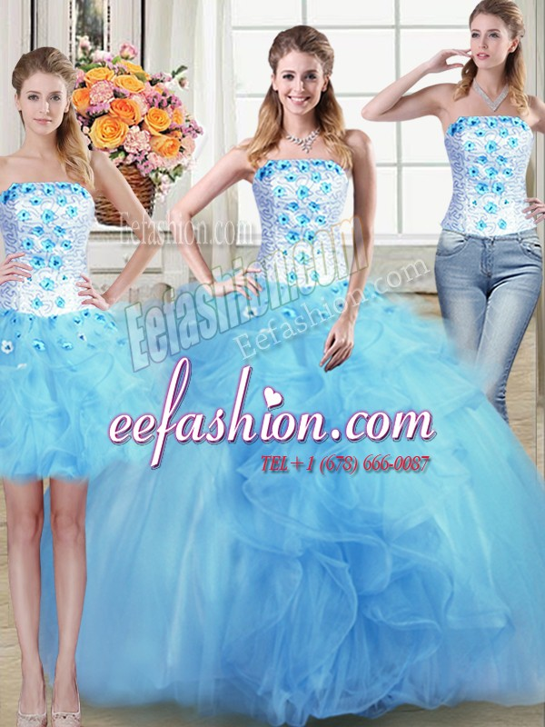 Three Piece Floor Length Ball Gowns Sleeveless Light Blue Quince Ball Gowns Lace Up