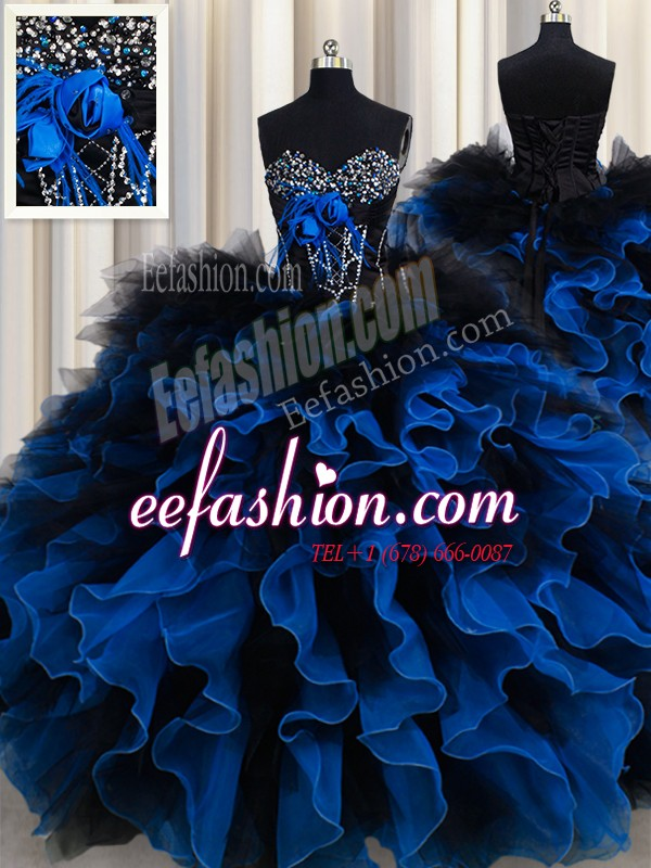 Excellent Royal Blue Ball Gowns Beading and Ruffles Sweet 16 Quinceanera Dress Lace Up Organza and Tulle Sleeveless Floor Length