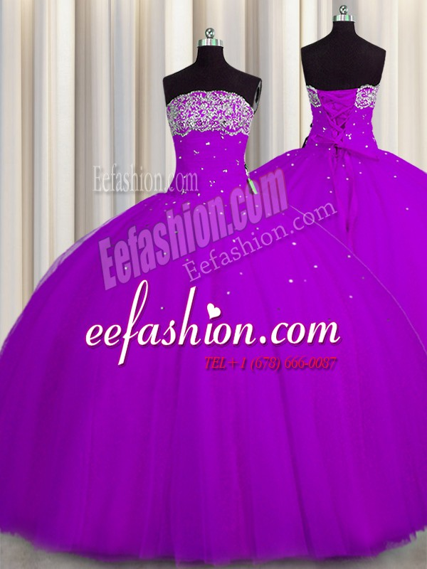 Suitable Really Puffy Sleeveless Floor Length Beading and Sequins Lace Up Vestidos de Quinceanera with Purple