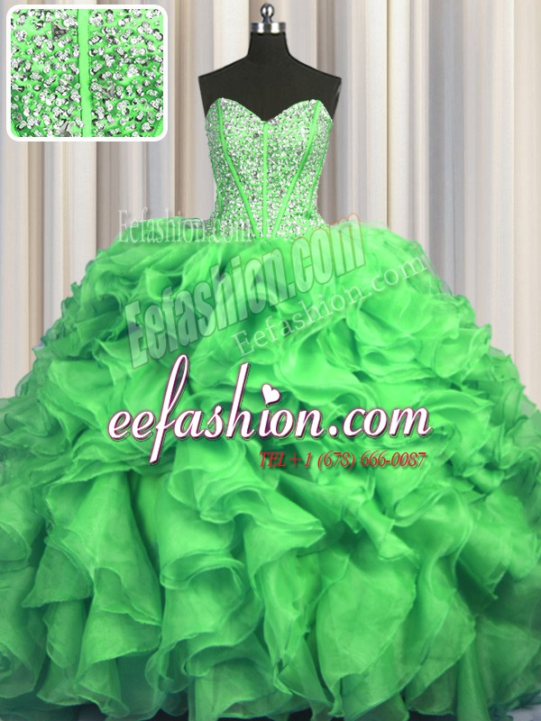 Luxurious Visible Boning Bling-bling With Train 15th Birthday Dress Sweetheart Sleeveless Sweep Train Lace Up