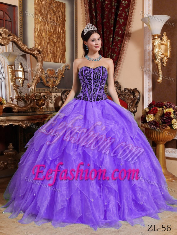 and Purple Sweet Sixteen Dresses with Beadings and Ruffles in Organza
