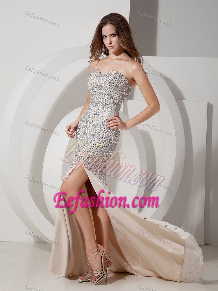 Champagne Mermaid Sweetheart Chiffon Prom Holiday Dresses with Rhinestone