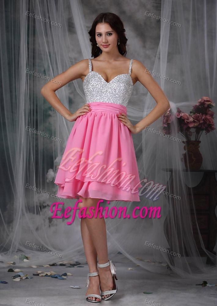 Straps Knee-length Pink Layered Chiffon Prom Dress for Slim Girls ...