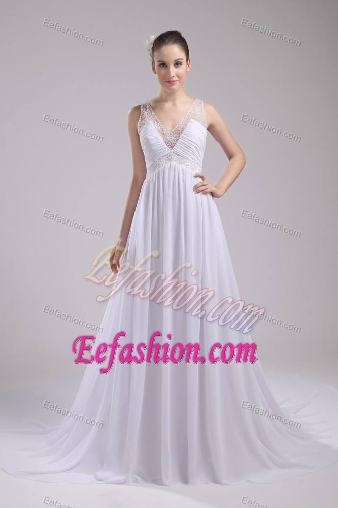 2013 Empire V Neck Outdoor Wedding Dresses With Ruches And Beads