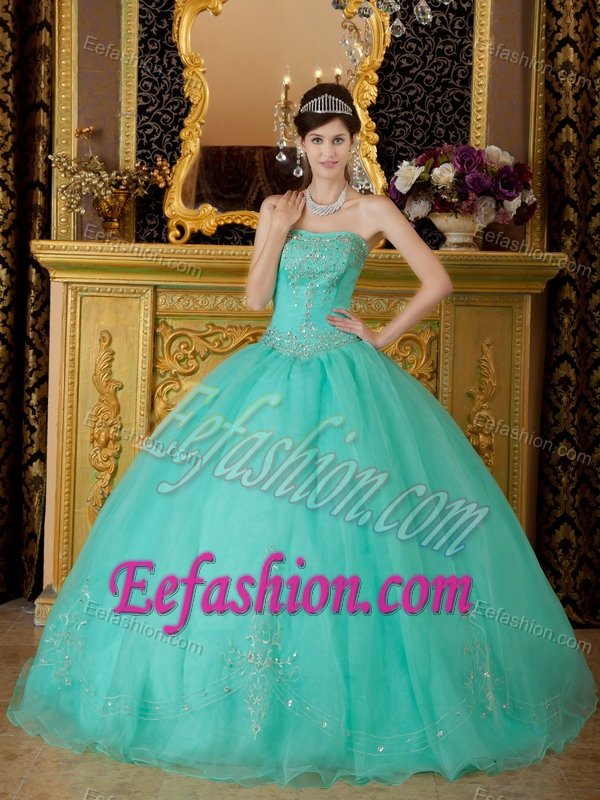Strapless Turquoise Ball Gown Organza Sweet 16 Dress with Appliques on Sale