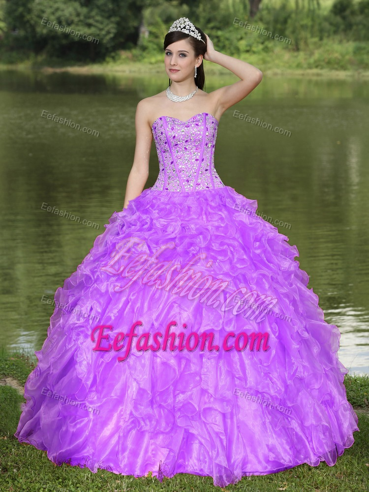 Sweetheart Beaded Ruffles Layered Organza Quinceanera Dress for 2015