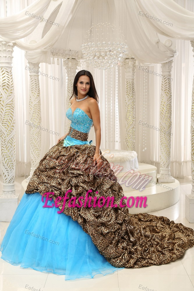 Leopard and Organza Beading Decorated Sweetheart Sweet 16 Quinceanera Dress