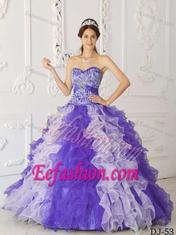 Sweetheart Purple and White Organza Zebra Quinceanera Dress with ...