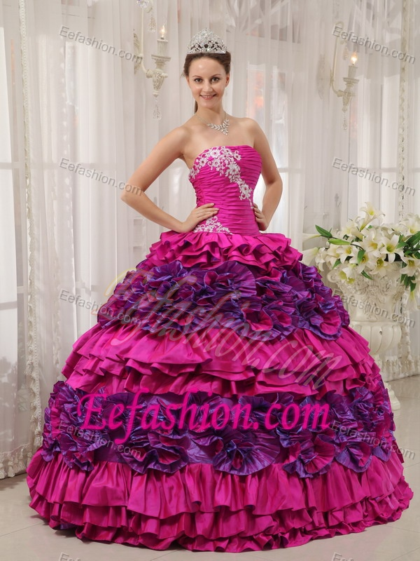 2013 Fuchsia Strapless Quinceanera Dresses with Appliques ...