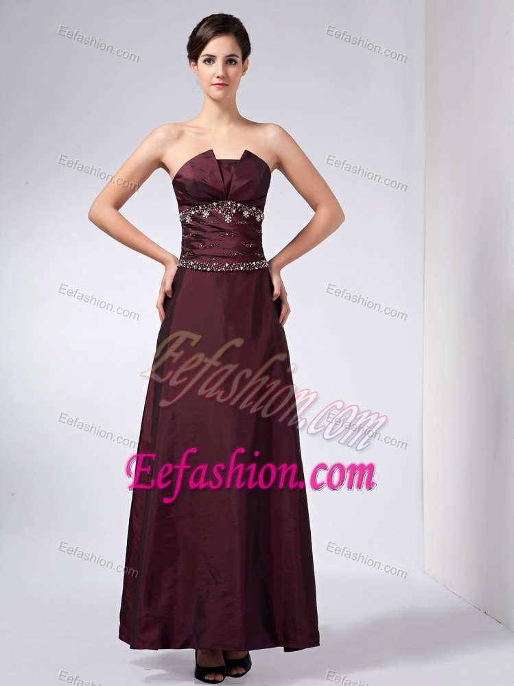Wedding Guest Dresses Affordable : Affordable strapless ankle length wedding guest outfits in