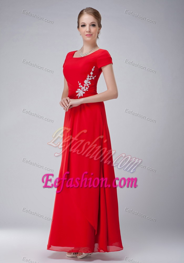 Red Empire Scoop Chiffon Wedding Guest Gown Dress In Ankle Length