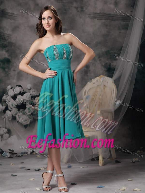 Custom Made Turquoise Empire Strapless Wedding Guest Dress