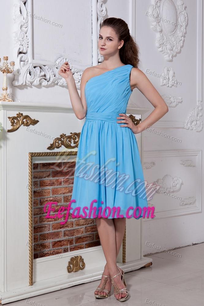 Cheap Princess One Shoulder Chiffon Wedding Guest Attire in Aqua Blue