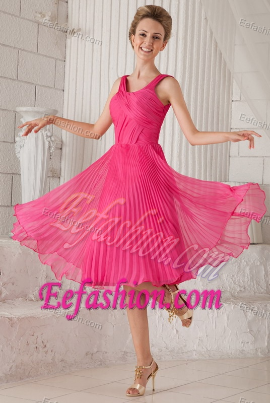 Pink Empire Straps Organza Discount Wedding Guest Gown Dress