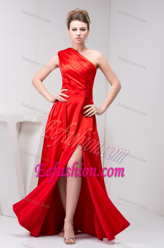 Wedding Guest Dresses Affordable : Cheap one shoulder red slitted wedding guest outfits with