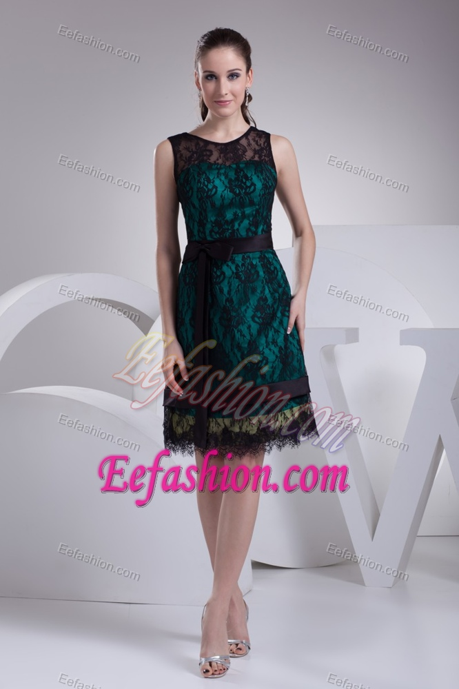 Teal and Black Satin Wedding Guest Gown Dress with Sash