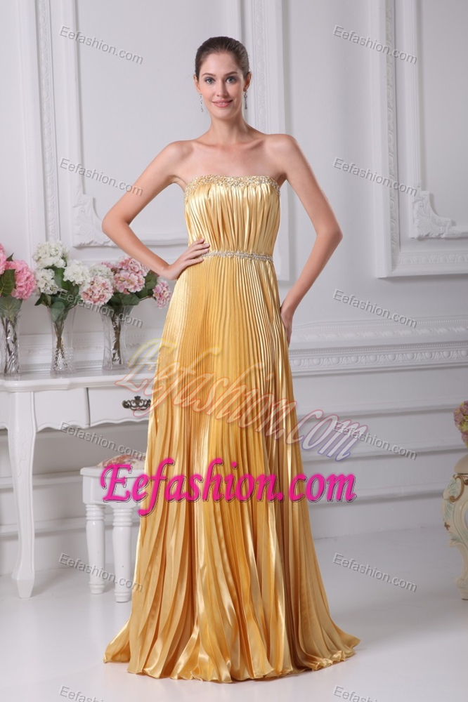Cheap strapless beaded wedding guest dress with pleating for Cheap wedding guest dresses