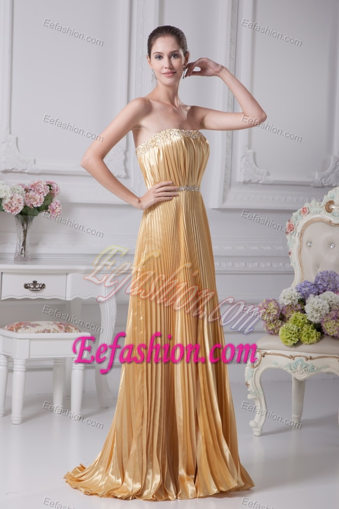 Wedding Guest Dresses Affordable : Cheap strapless beaded wedding guest dress with pleating