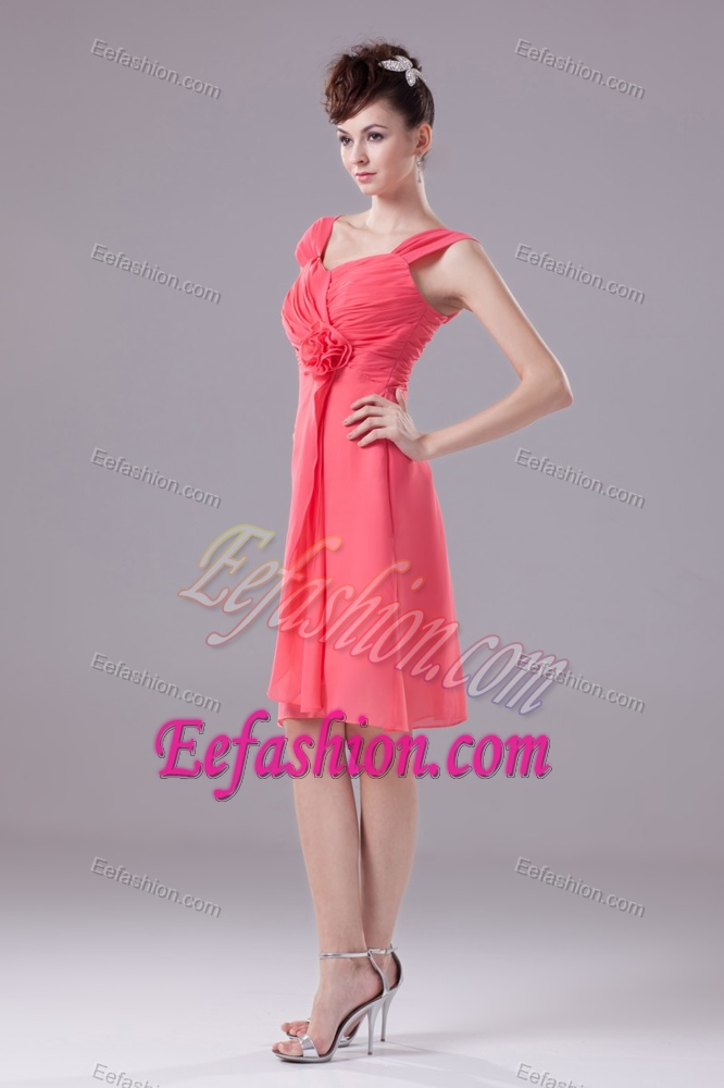 Wide Straps Knee Length Discount Wedding Guest Dresses In Watermelon