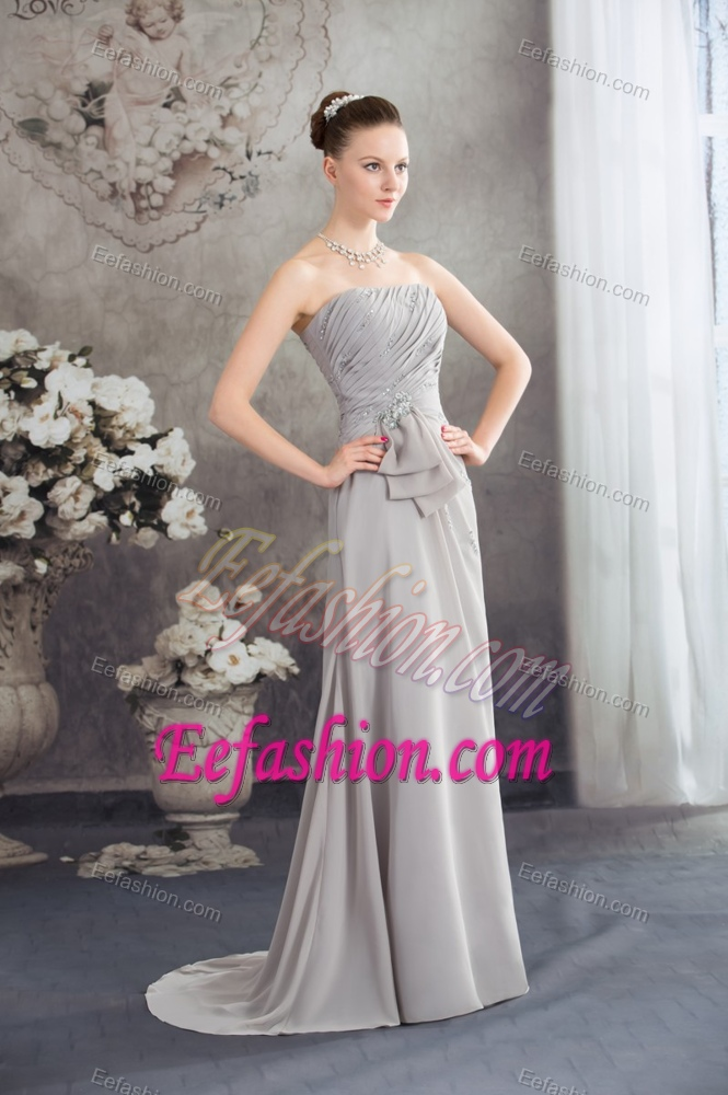 Cute Beaded Wedding Guest Dresses With Ruching And Half Bowknot
