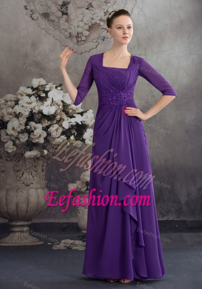 Half Sleeves Square Sweet Wedding Guest Dresses with Beading