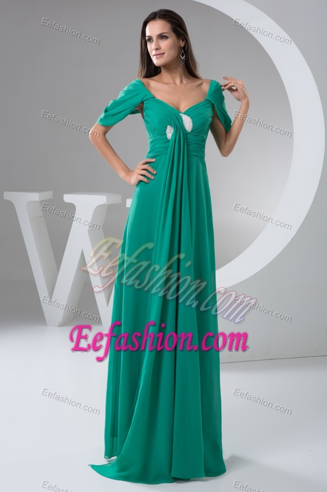 Turquoise Ruched Wedding Guest Gown Dress with Short Sleeve on Sale