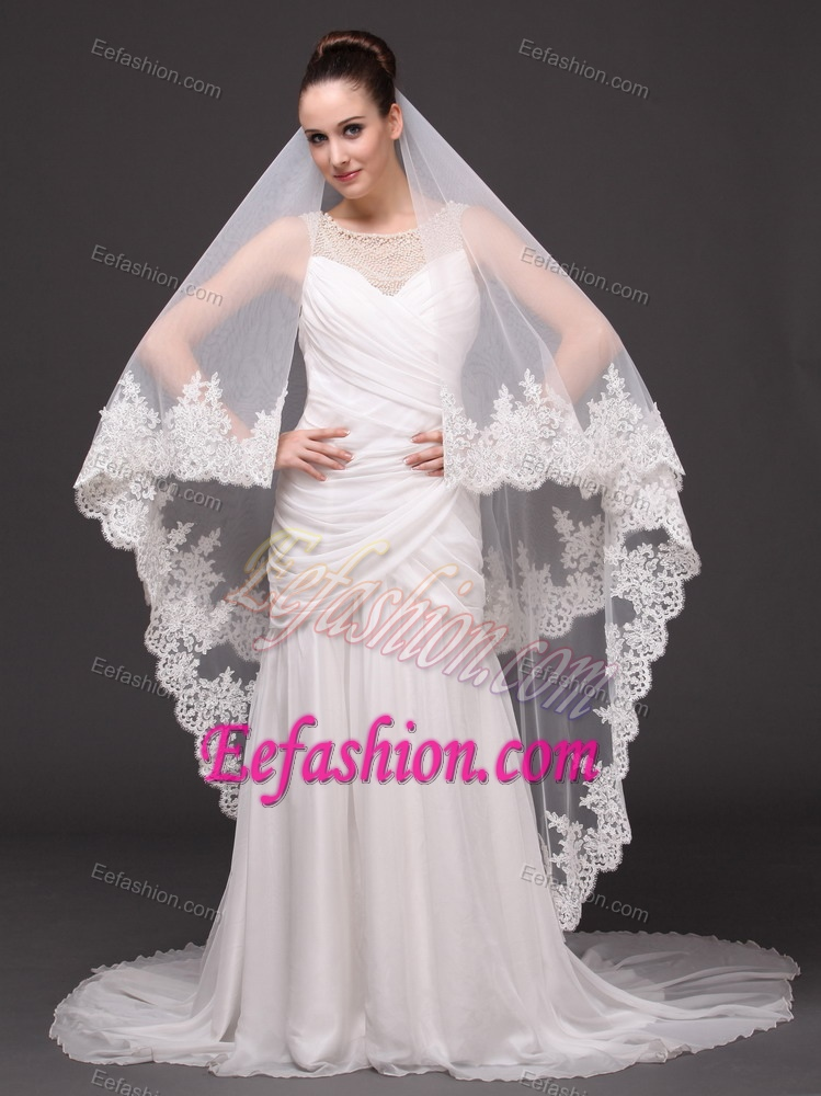 Beautiful Two Tier Cathedral Wedding Veil With Lace