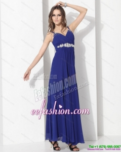 2015 Sexy Ankle Length Blue Prom Dress with Beading