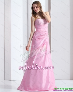 2015 Sexy Baby Pink Sweetheart Prom Dress with Beading and Ruching